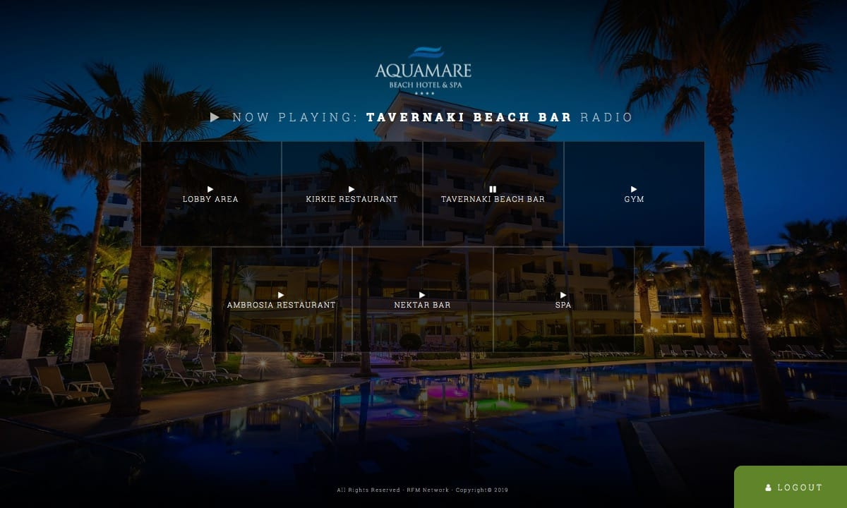 Screenshot of the Aquamare Beach Hotel & Spa Business Platform